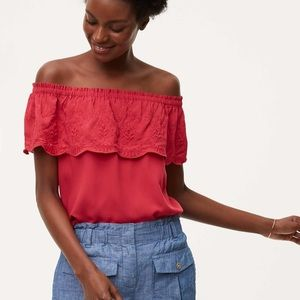 Loft Embroidered Ruffle Off The Shoulder Top